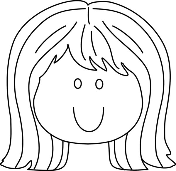 Face, : Little Girl Smiling Face Coloring Page
