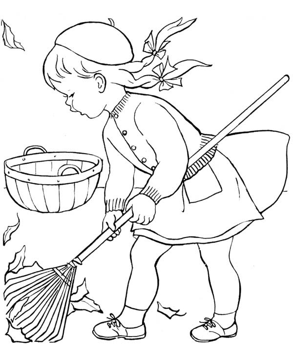 Autumn, : Little Girl Sweeping in Autumn Leaves Coloring Page
