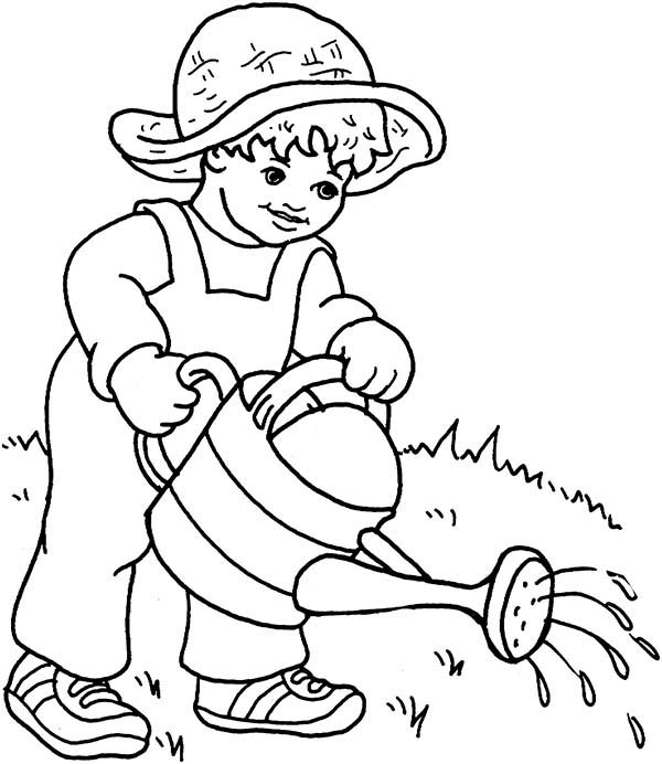 Watering Can, : Little Kid Watering Plants with Watering Can Coloring Page