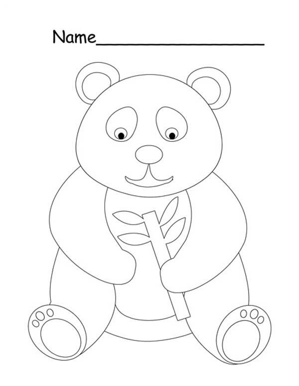 Panda, : Little Panda is Hungry Coloring Page
