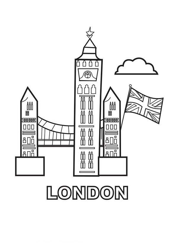 Big Ben, : London Landmark Big Ben Coloring Page