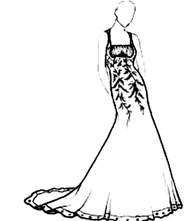 Dress, : Long Maxi Dress Coloring Page