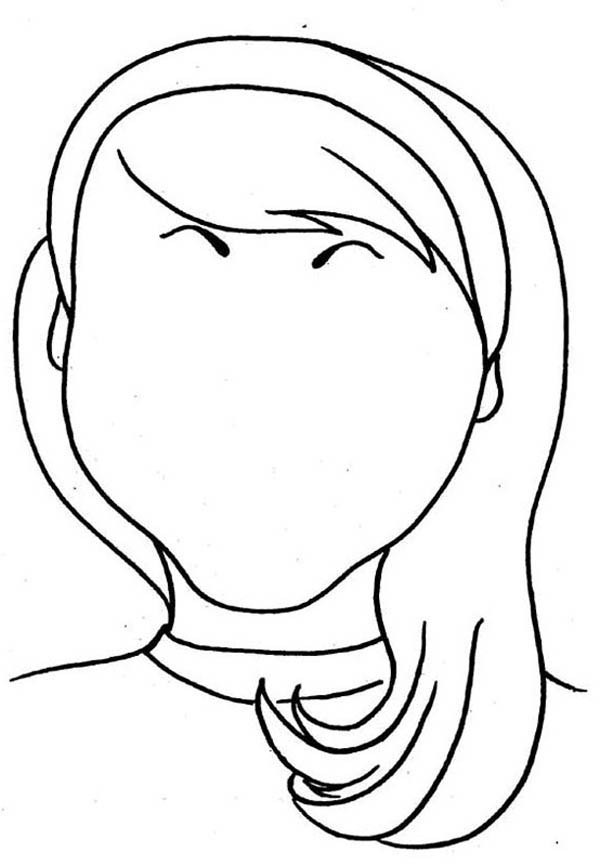 Face, : Love Type of Face with Long Hair Coloring Page
