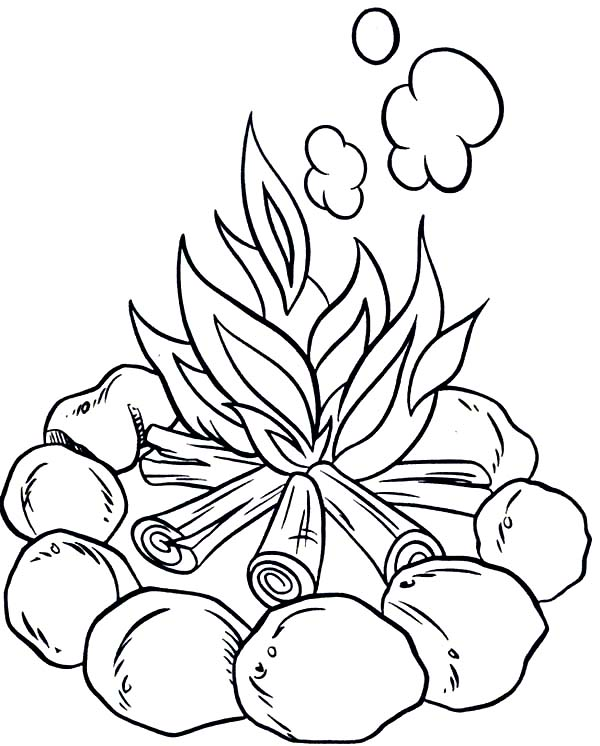 Camping, : Make Campfire When Camping Coloring Page