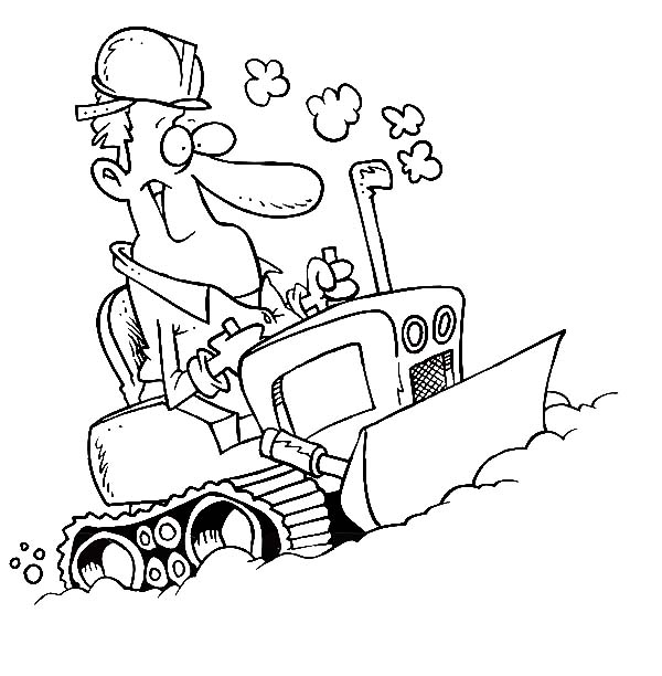 Bulldozer, : Man Operating a Bulldozer Coloring Page