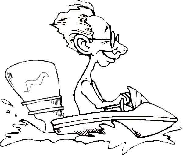 Boat, : Man Ride Motor Boat Coloring Page