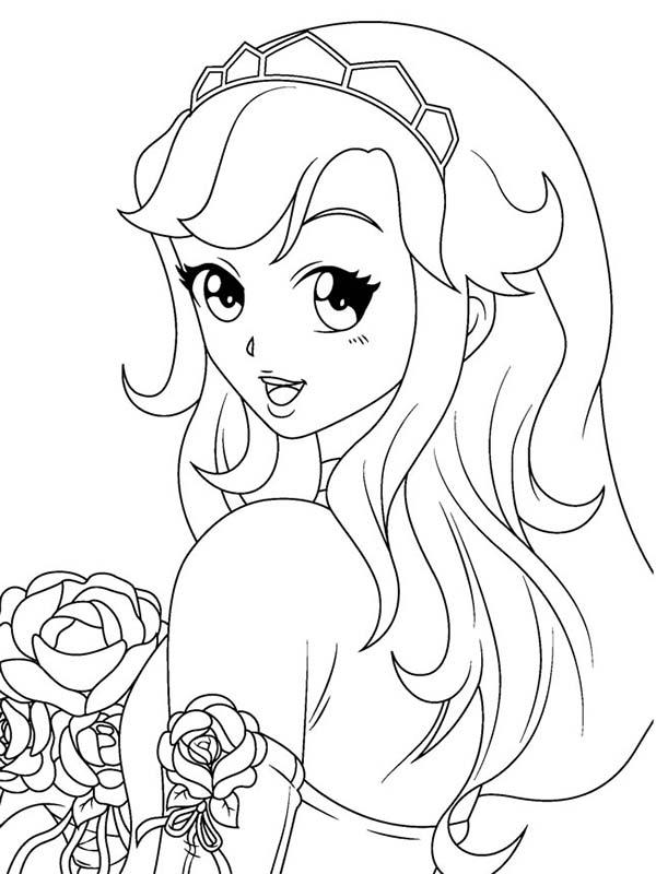 Beautiful Ladies, : Manga Beautiful Ladies Take a Rose Coloring Page