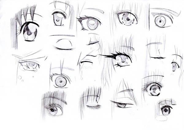 Eyes, : Manga Eyes Sketch Coloring Page