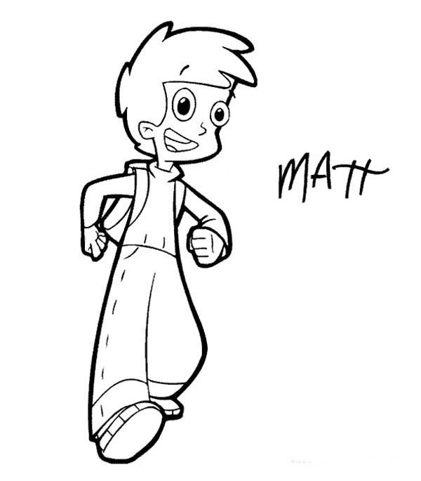 Cyberchase, : Matt is Going to School in Cyberchase Coloring Page