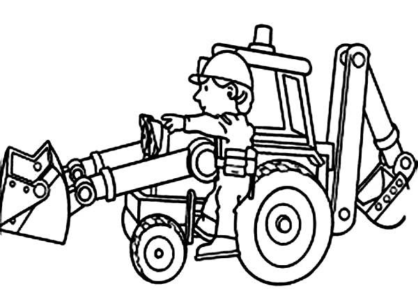 Bulldozer, : Mechanic Maintaining Bulldozer Coloring Page