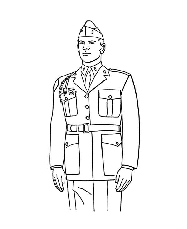 Armed Forces Day, : Military Colonel Standup in Armed Forces Day Coloring Page
