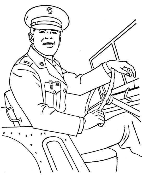 Armed Forces Day, : Military Sergeant Driving a Car in Armed Forces Day Coloring Page