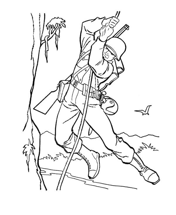 Armed Forces Day, : Mission in the Jungle in Armed Forces Day Coloring Page