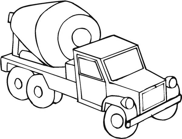 Mixer truck on construction work coloring page mixer for Construction vehicles coloring pages