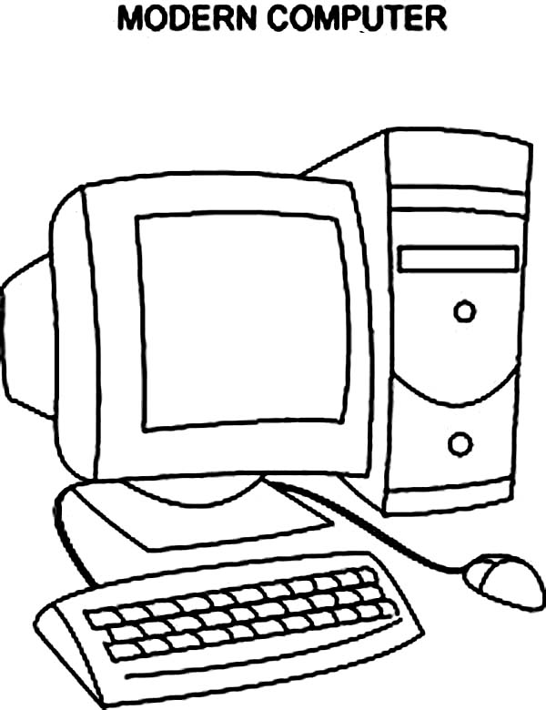 Computer, : Modern Computer Coloring Page