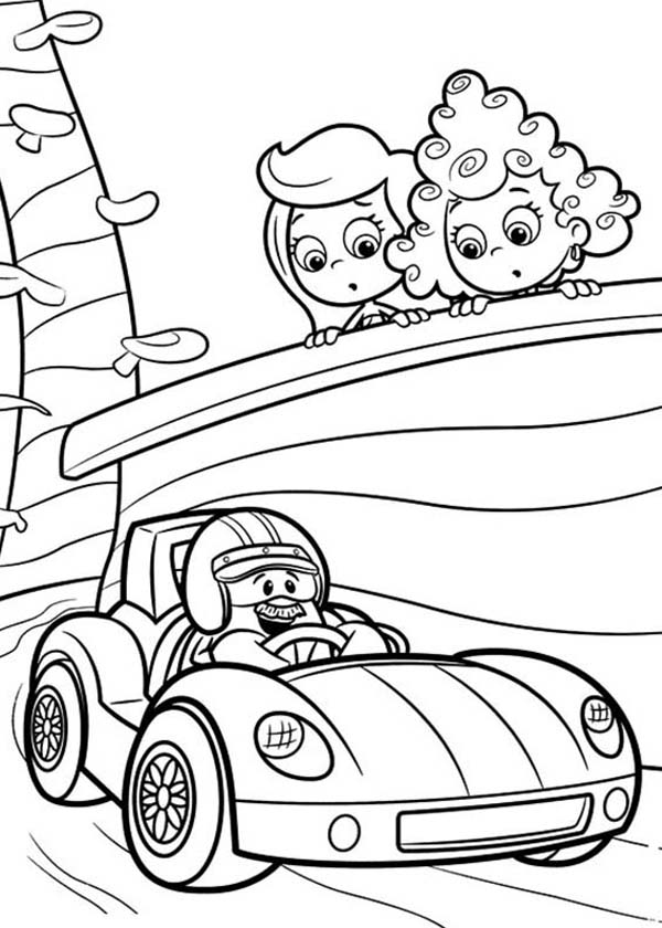 Bubble Guppies, : Molly and Deema Watch Racing Car in Bubble Guppies Coloring Page