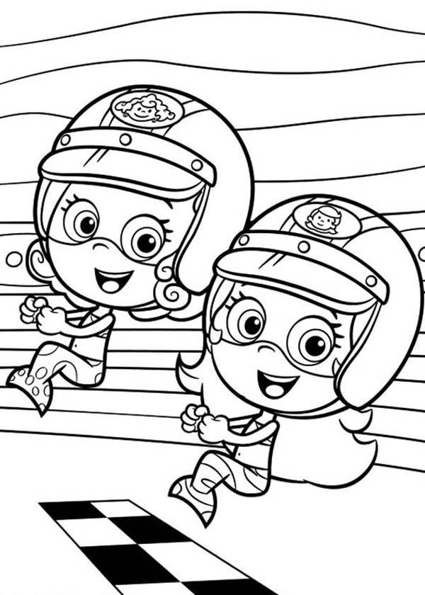 Bubble Guppies, : Molly and Deema is Ready to Race in Bubble Guppies Coloring Page