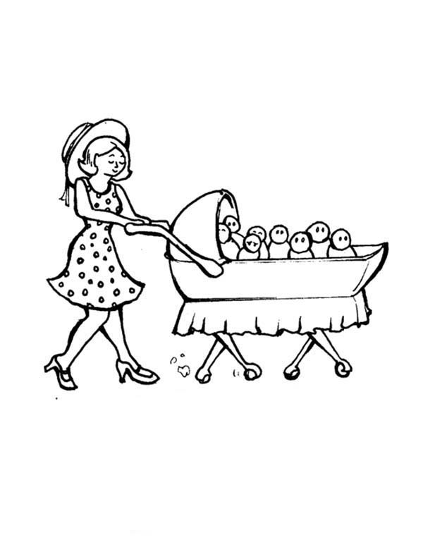 Baby, : Mom Pulling a Cart Full of Baby Coloring Page