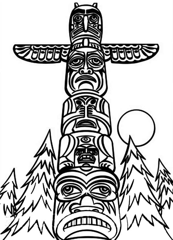 Native American Day, : Monumental Native American Totem on Native American Day Coloring Page
