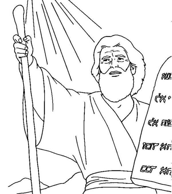 Ten Commandments, : Moses Receives Ten Commandments Coloring Page