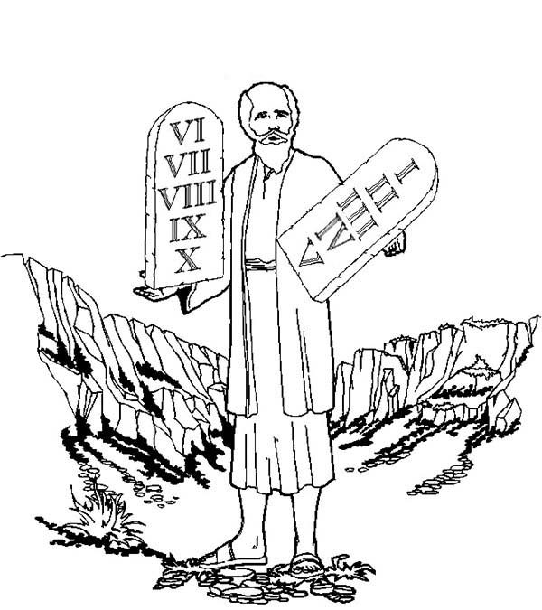 Ten Commandments, : Moses Standing on Mount Sinai with Ten Commandments Coloring Page