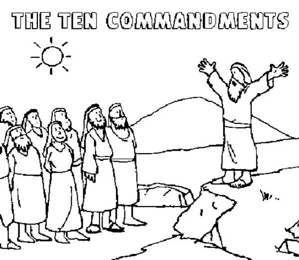 Ten Commandments, : Moses Tell to People about Ten Commandments Coloring Page
