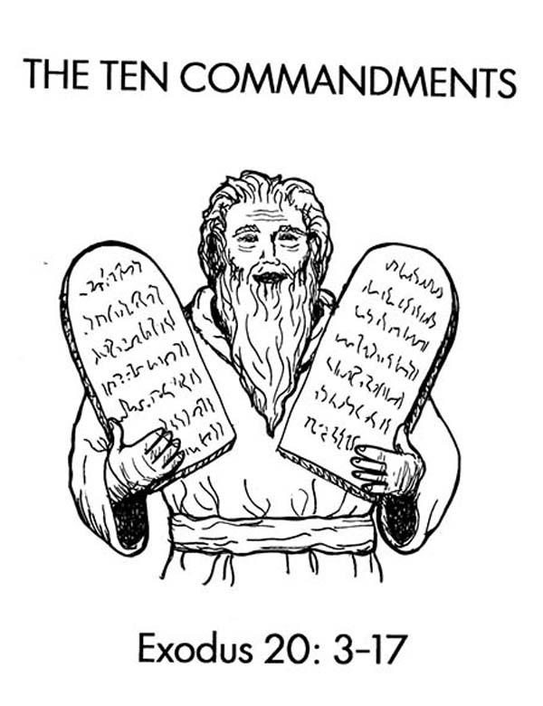 Ten Commandments, : Moses and Ten Commandments Stone Tablets Coloring Page