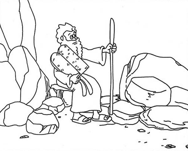 Ten Commandments, : Moses on Mount Sinai Receiving Ten Commandments Coloring Page