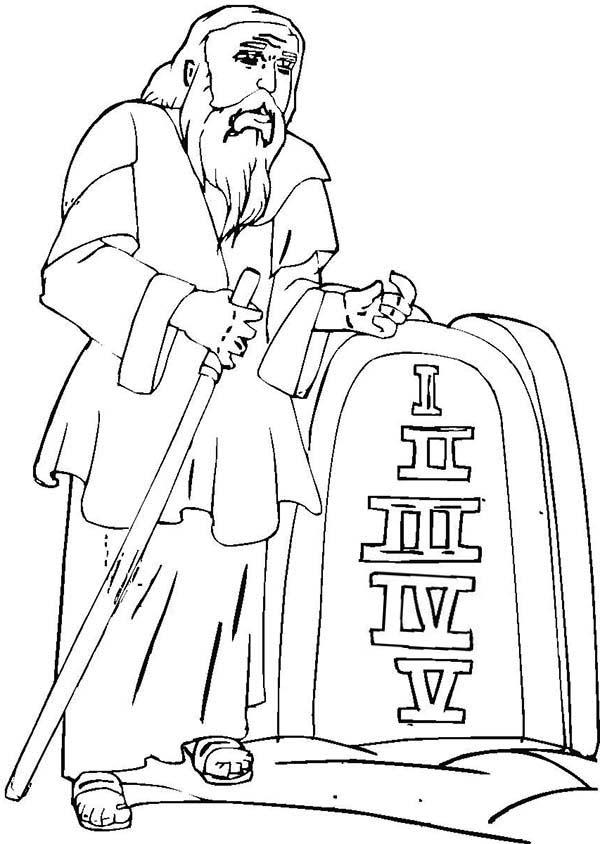 Ten Commandments, : Moses with Ten Commandments Coloring Page