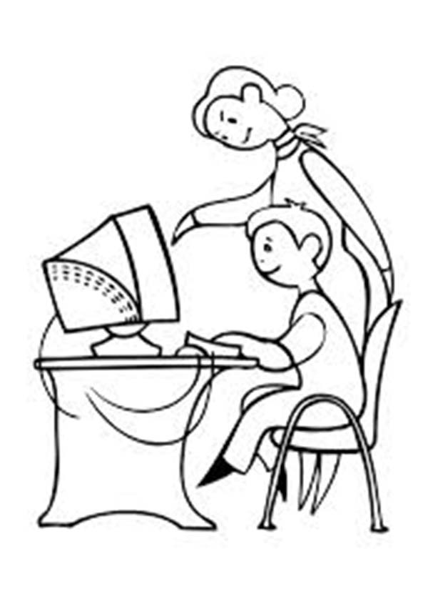 Computer, : Mother Teach Her Son Using Computer Coloring Page