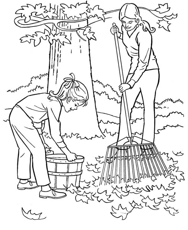 Autumn, : Mother and Daughter Cleaning Up Autumn Leaves Coloring Page