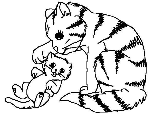 Cat, : Mother of Cat Touch Her Kitten Ear Coloring Page