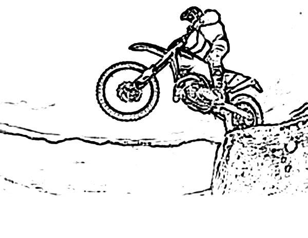Dirt Bike, : Motorcross Dirt Bike Coloring Page