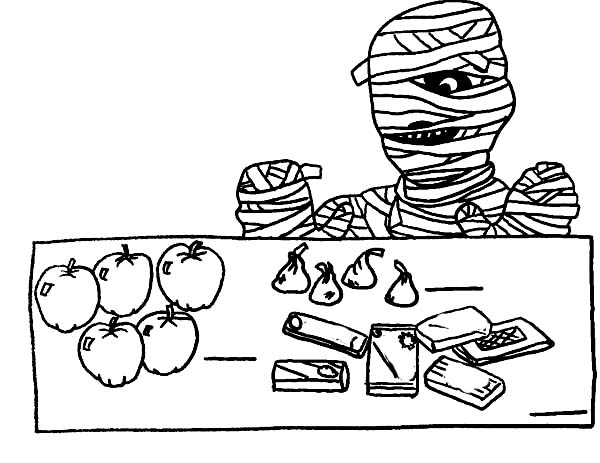 Breakfast, : Mummy with His Breakfast Coloring Page