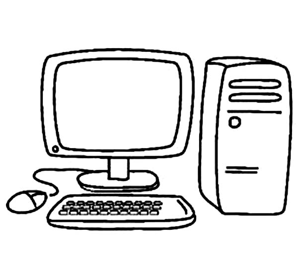 Computer, : My New Computer Coloring Page