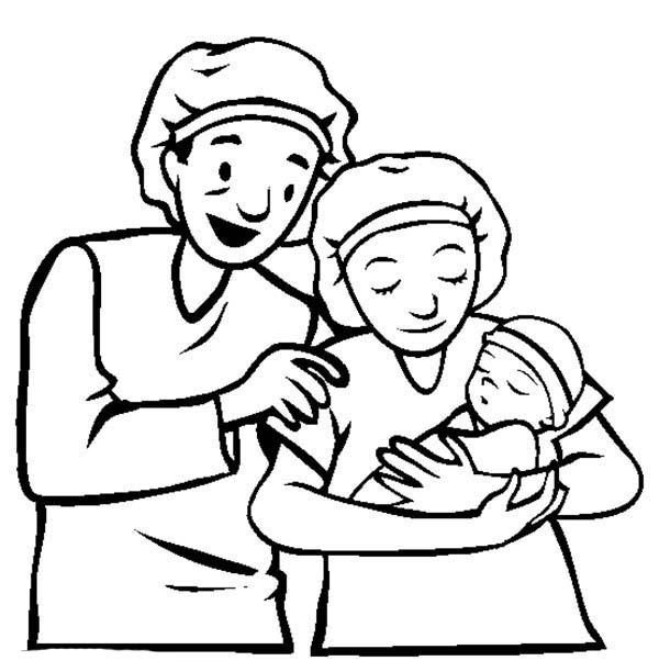 Baby, : Newborn Baby and Parents Coloring Page