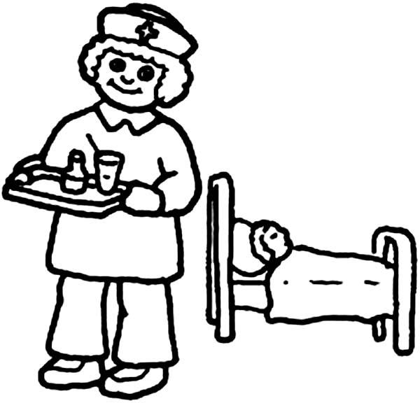 Doctor, : Nurse Giving Medicine to Patient in Doctor Coloring Page
