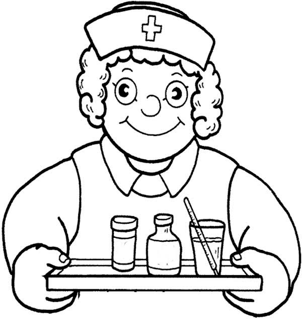 Doctor, : Nurse Serving Medicine in Doctor Coloring Page