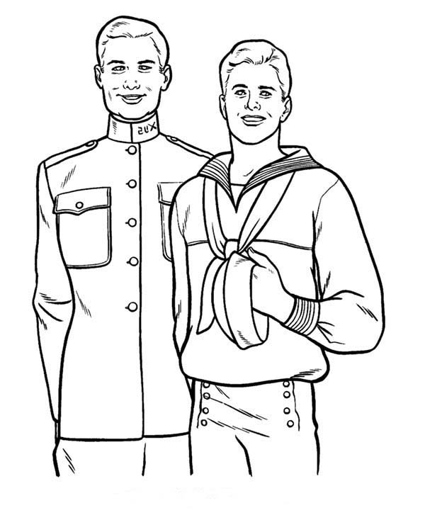 Armed Forces Day, : Old Friend on Military in Armed Forces Day Coloring Page