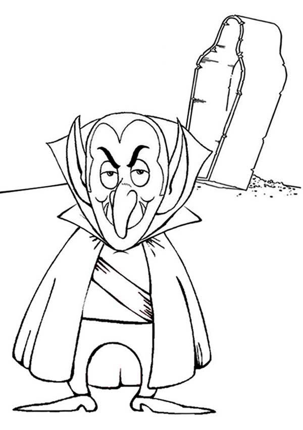 Vampire, : Old Vampire and His Coffin Coloring Page