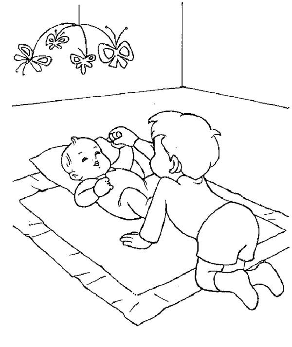Baby, : Older Brother Take Care of His Baby Brother Coloring Page
