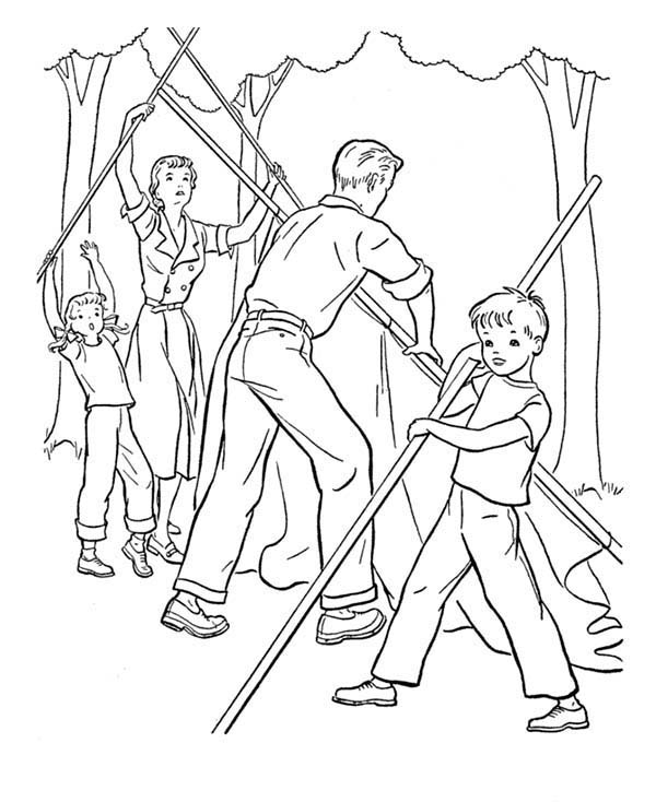 Camping, : One Whole Family Help Each Other Building Camping Tent Coloring Page