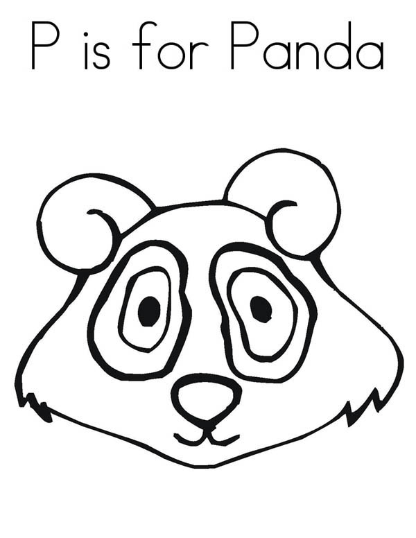 Panda, : P is for Panda Coloring Page