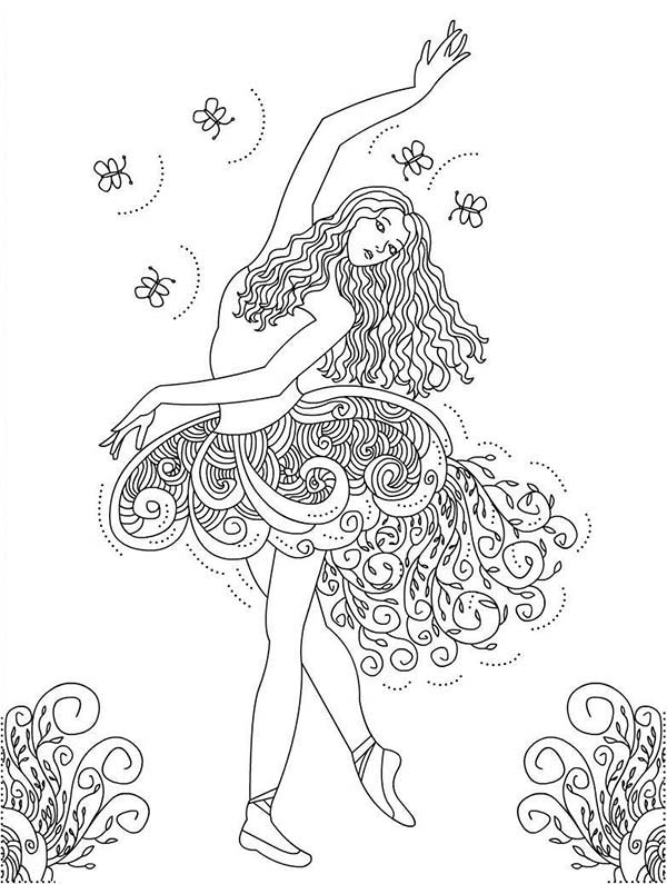 Dance, : Painting of Girl Dance Coloring Page