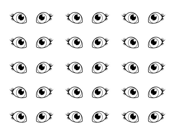 Eyes, : Pair of Eyes Coloring Page