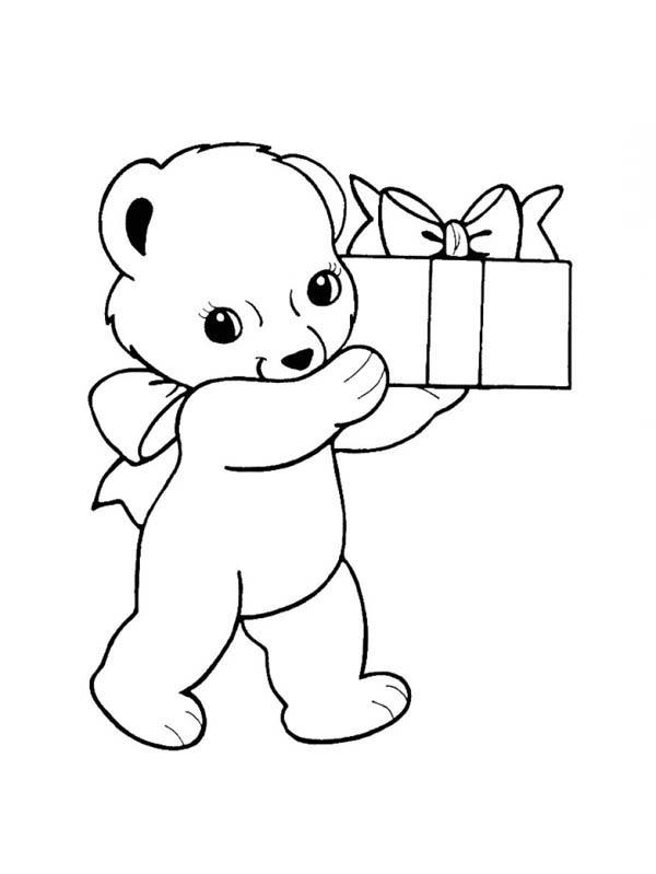 Panda, : Panda Bring You a Present Coloring Page