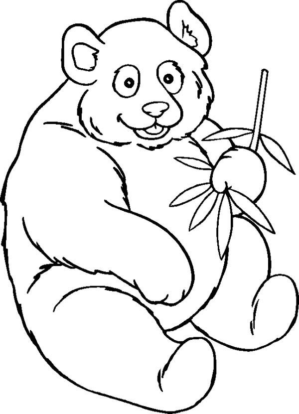 Panda, : Panda is so Hungry Coloring Page