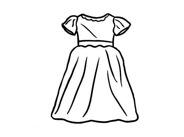 Dress, : Party Dress for Little Girl Coloring Page