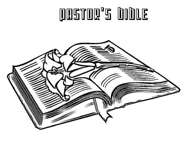 Books, : Pastors Bible Book Coloring Page