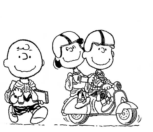 Charlie Brown, : Peanuts Charlie Brown Walking to School Coloring Page